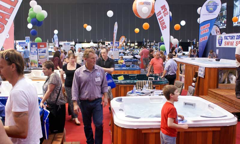 Consumers flock to melbourne 39 s summer pool spa expo for Pool and spa expo