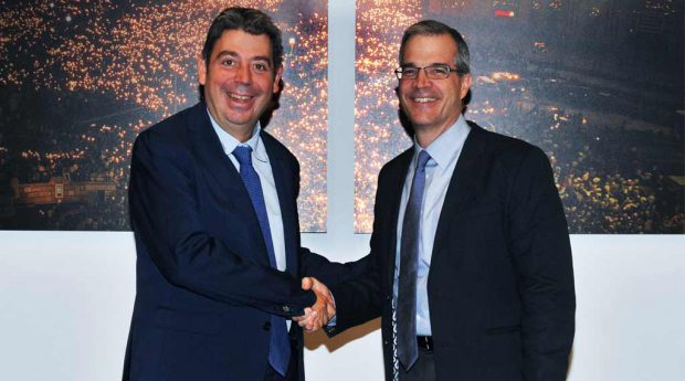 Eloi Planes (Fluidra) and Bruce Brooks (Zodiac) announce the merger plans