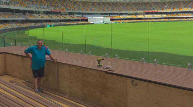 Paul Attard and the swimming pool at the Gabba